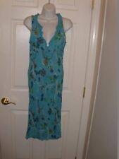 Ladies Size M Eye Candy Dress Indie Retro Pattern Aqua Ruffle