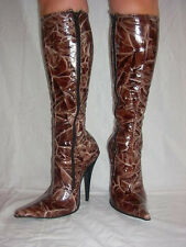 PATENT STRETCH LEATHER HIGHS BOOTS SIZE 5-16 HEELS- 5,5' SNAKE IMITATION