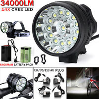 Waterproof 34000LM 14x CREE T6 LED 18650 Bicycle Cycling Head Light Lamp UK/US
