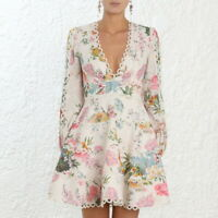 Lady's Floral Printed Puff Sleeve Sexy V-neck High Waist Dresses Summer Spring