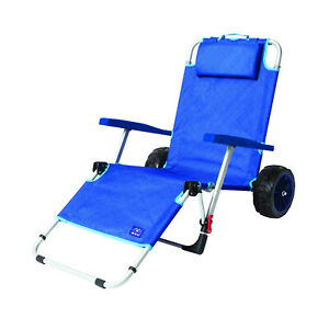 Mac Sport 2-in-1 Beach Camping Folding Lounger Chair & Wagon Cart w/ Locks, Blue