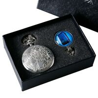 Fashion Silver Doctor Who Quartz Pocket Watch TARDIS Necklace Set With Gift Box