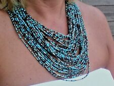 "Multi-Brin de perles extra long 26"" Turquoise & Marron Statement Collier £ 14.99"