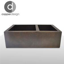 "Hammered Copper Apron Farmhouse Kitchen Sink 33""x22"" 60/40"