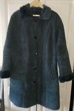 Italian womens black collared sheepskin coat