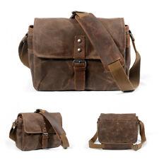 Canvas Leather Trim DSLR SLR Shockproof Waterproof Camera Messenger Shoulder Bag