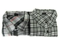 Oakley Mens Large Long Sleeve Button Front Shirt Lot of 2 Red Black Gray Plaid