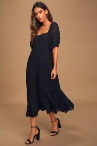 Free People Let's Be Friends Puff Sleeve Backless Midi Dress Black XS UK 6 BNWOT