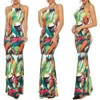 Women Boho Backless Bodycon Dress Summer Evening Party Cocktail Maxi Long Dress