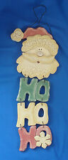 "18"" crackle painted wooden Christmas Santa face HO HO HO wall hanging plaque"