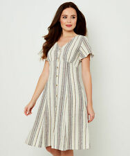 Joe Browns Womens Striped Button Through Linen Dress