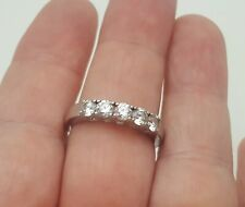 Sterling Silver Cubic Zirconia 5 Stone Anniversary Band Size 10