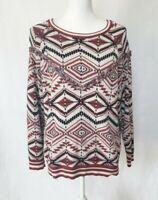 Anthropologie Camaieu White Graphic Sweater Medium