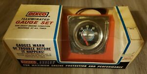 NOS Dixco Dixson Vintage Illuminated Oil Pressure Gauge Set Metal Case 112BW