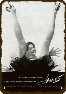 1954 Sexy Women Spread Legs in HANES PANTYHOSE Vintage Look REPLICA METAL SIGN