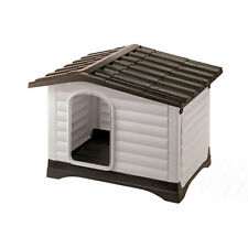 Dog House Small Folding Porch Brown Roof Plastic Gray Waterproof Sun Resistant