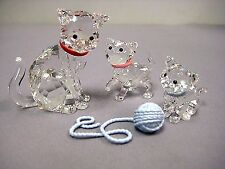 swarovski  Mother cat    kitten standing + sitting  1193526 1193537 1193540