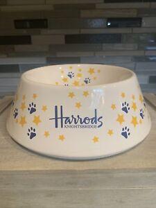 Rare Harrods Knightsbridge Yellow & Blue Dog Cat Food Water Ceramic Bowl