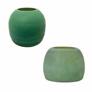 Frosted Green Glass Vase Set 2 Elegant Round Minimalist Fat Dome Modern Candle