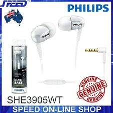 PHILIPS SHE3905WT Headphones Earphones with Mic - Rich Bass - WHITE - GENUINE