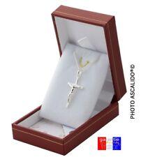 pendentif crucifix jesus sur la croix en Argent Massif avec chaine + ecrin neuf