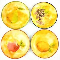 "Susan Winget 4 3/4"" Plate Set (4) fruit imprinted plates with signature"