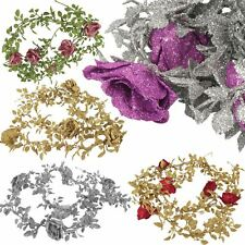 Heavy Glittered Rose Vine Garland - Bling Decoration Glittery Flowers