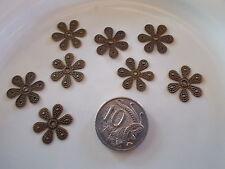8 x Antique Bronze Filigree Flower embellishments findings 18x16mm