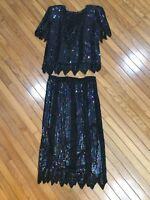Vintage Mark & John pure silk beaded Sequin Black Top Blouse & Skirt Size M