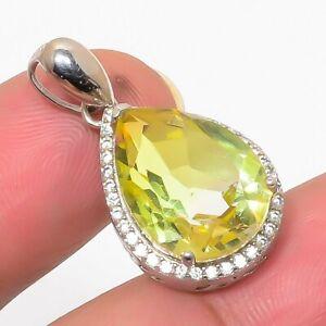 "Lemon Tourmaline & Cz Gemstone 925 Sterling Silver Pendant Jewelry 1.2"" S1965"