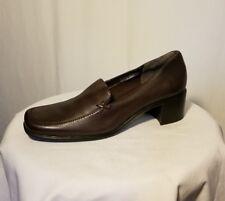 "Womens AEROSOLES ""Meadow"" brown leather block heel loafer shoe career Sz 6 M"