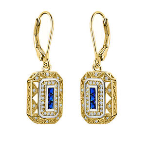 1.00 ct Blue Sapphire & CZ Vintage Drop Dangle Earrings 14K Yellow Gold Over