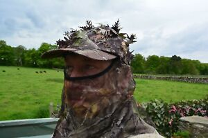 Camo 3D Ghilly Loose Leaf Baseball Cap with Mesh Headnet Face Veil - Hunters Hat