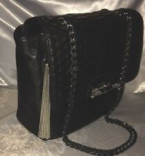 "Aimee Kestenberg Ambria Black Leather Quilted Chain X-body Shoulder 9"" Bag NWT"