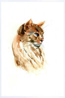 """Original Watercolor Painting 9 x 6"""" Tiger Cat Not ACEO"""