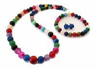 Stunning 6-12mm Multi Coloured Gemstone Necklace, Bracelet and Earrings set