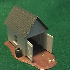 Vintage HO Scale Model Train Plastic Out Building with Water Barrel