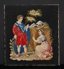 """A Very Good Quality C19th Berlin Woolwork. Jesus With Mary Magdalene. 14"""" x 13"""""""