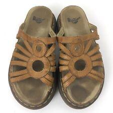 Dr Doc Martens Air Wair Sandals Sz 7 Slip On Slides Leather Brown Tan Strap