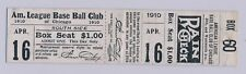 1910 Chicago White Sox Baseball UNUSED FULL GAME TICKET with Vintage Letter