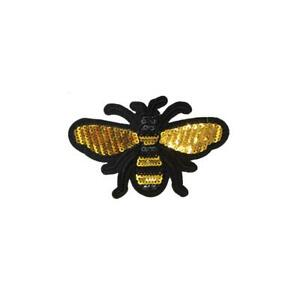 Sequin Gold Bee Fly (Iron On) Embroidery Applique Patch Sew Iron Badge