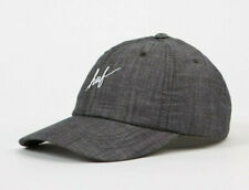 Huf Worldwide Skate Shoes Cap Dad 6 Panel Hat Script Chambray Curved Visor Grey