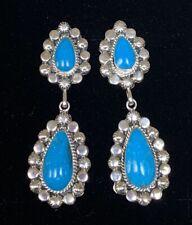 Navajo Sterling Silver Turquoise Earrings - Jimson Belen