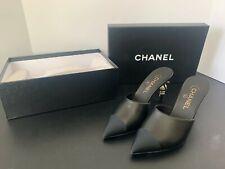 Chanel Runway Paris Snake Pearl heel mules sandals leather slides 37.5 Brand New