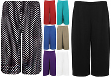 Ladies Womens Elasticated Stretch Print Wide Leg Culottes Shorts Plus Size 8-30