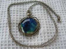Antique Ruskin signed art pottery high fired hexagonal cabochon pendant & chain