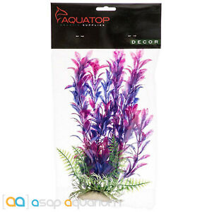 """Aquatop Hygro Plant Purple & Pink 9"""" Tall Aquarium Decoration with Weighted Base"""