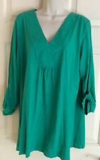 J JILL Roll Tab Long Slv V-Neck Green Cotton Stretch Pullover Tunic Top ~ Sz  L