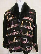 FLASHBACK Jacket Size L Black Southwestern Coat Faux Fur Collar Ribbons Fringe
