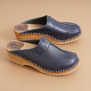 Troentorp Of Sweden Womens Wooden Clogs Size 38 / 8 Blue Leather Studs Slip On